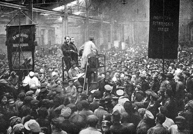 Putilov factory meeting Petrograd 1917