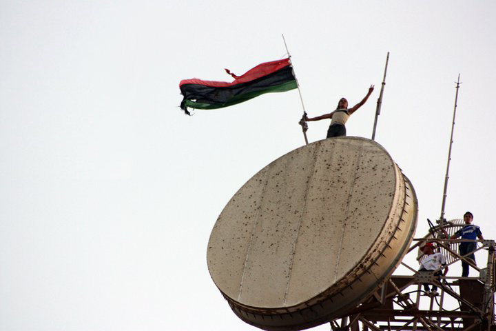 Libyan flag above the communications tower in Al Bayda Libya 2011 07 17